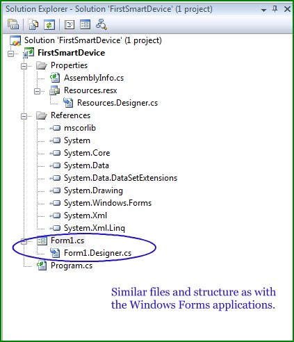 Figure 3. Solution Explorer for the FirstSmartDevice application