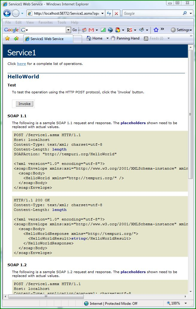 Figure 4. Request and Response for the HelloWorld web method