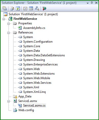 Figure 2. Solution Explorer for the FirstWebService