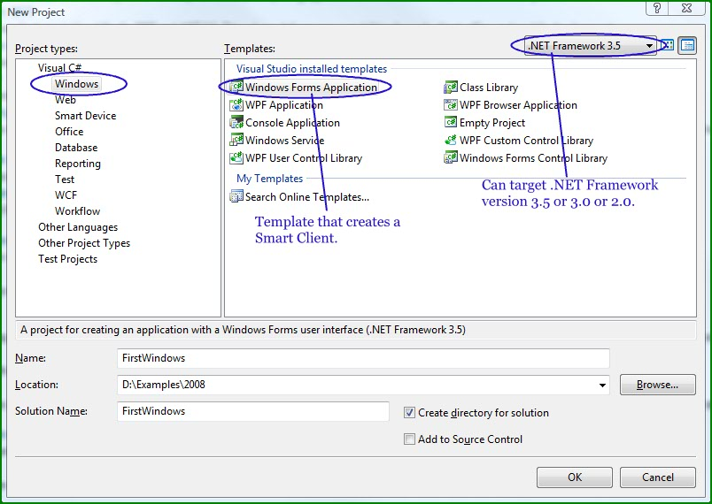 Figure 1. New Project Window for creating Windows Forms Application