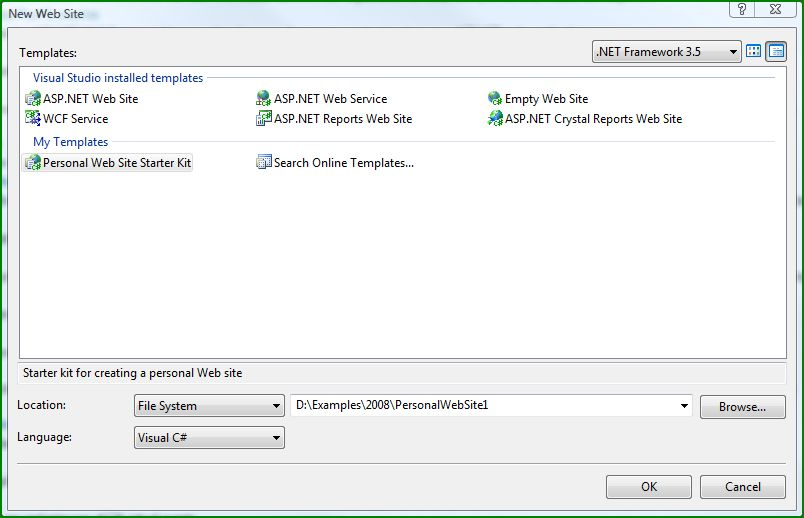 Figure 4. Personal Starter Kit in the New Web Site dialog box