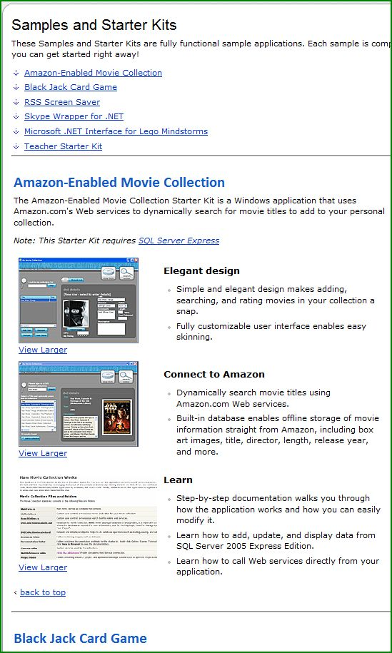 Figure 2. Starter Kits on MSDN
