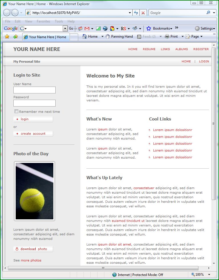 Figure 5. Site via Personal Web Site Starter Kit.