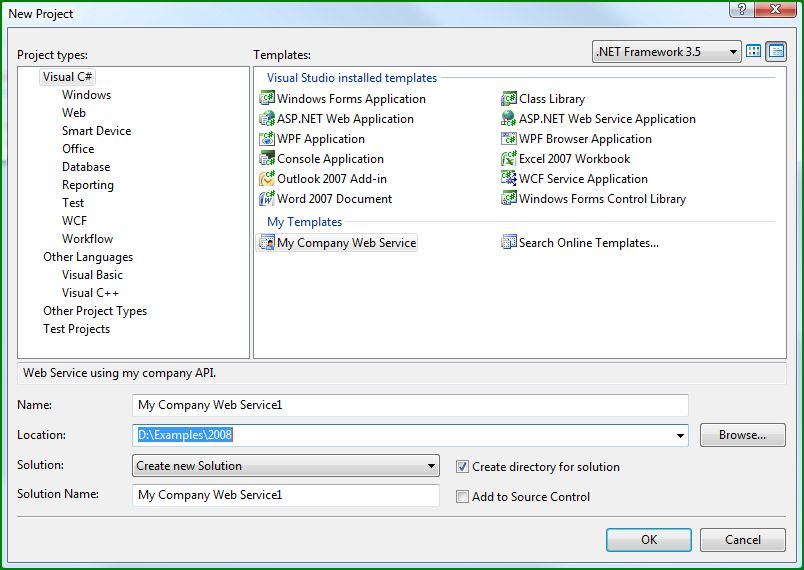 Figure 3. My Company Web Service template in New Project dialog box