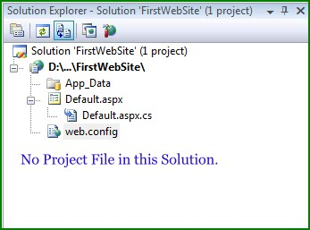 Figure 2. Solution Explorer for the Web Site
