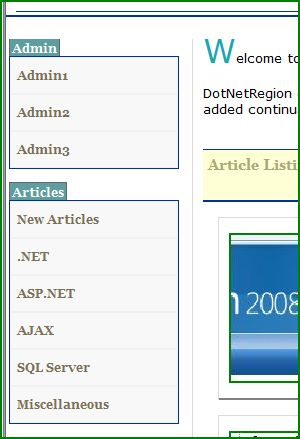 Figure 1. Two separate menus shown when a administrator logged in
