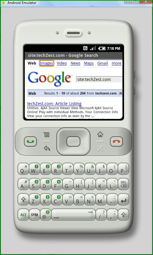 Google search results on a Google Phone