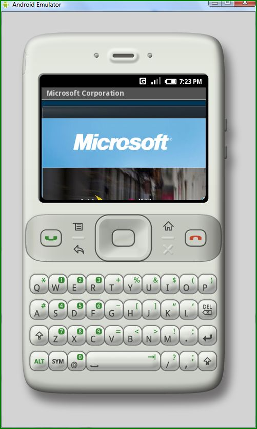 Microsoft site on Google Phone