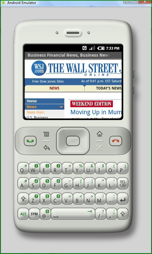 The Wall Street Journal site on Google Phone
