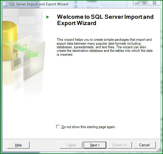 Figure 2. Import and Export Wizard