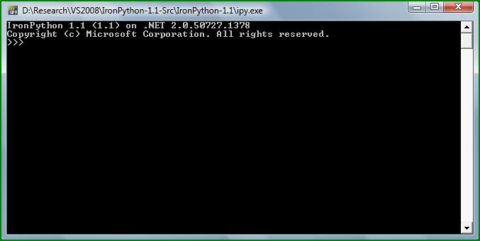 Figure 3: IronPython Console from Visual Studio 2008