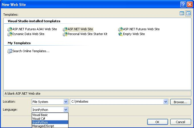 Figure 1. IronPython Support for ASP.NET web sites