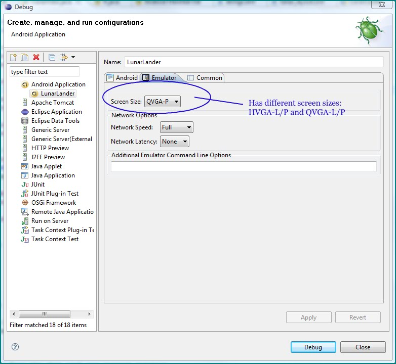 Figure 10. Debug Dialog box of Eclipse