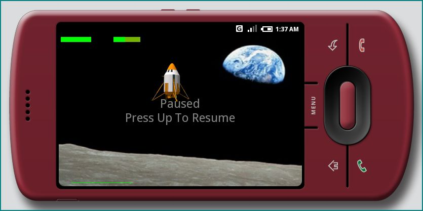 Figure 1. Lunar Lander Game on Android at HVGA-L