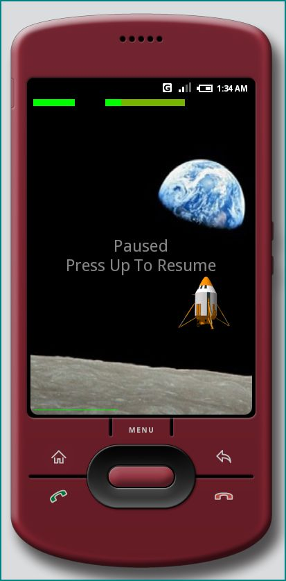 Figure 3. The Android Lunar Lander Game at HVGA-P