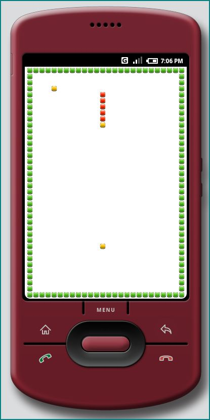 Figure 4. The Android Snake Game at HVGA-P