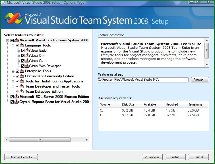 Features to install in Visual Studio 2008 Team Suite