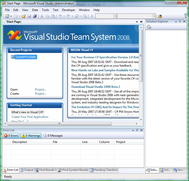 Figure 9: Visual Studio Team System 2008 Beta 2