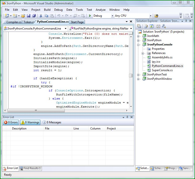 Visual Studio 2008 Team System with the IronPython project