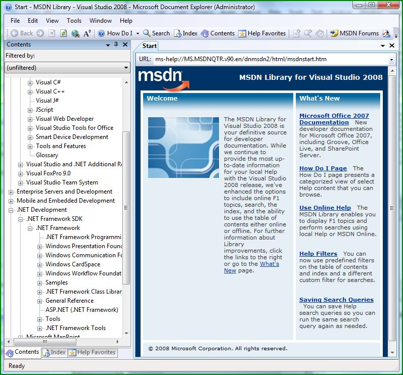Screenshot of MSDN 2008