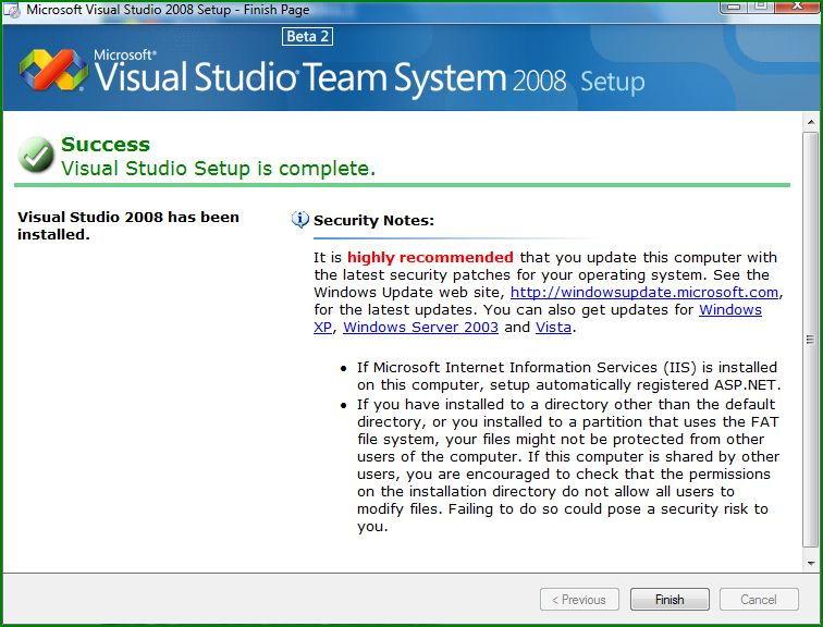 Figure 7: Completion of the Visual Studio Team System 2008 installation