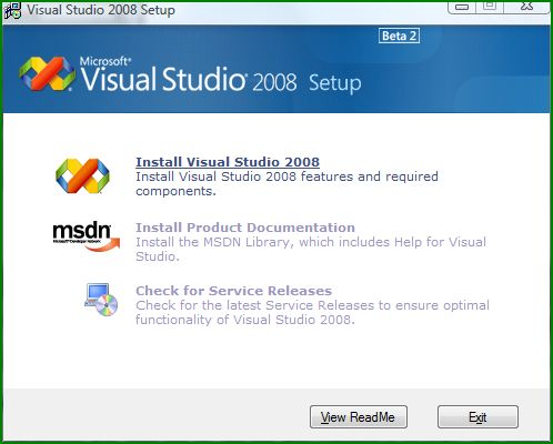 Figure 3: The first dialog box from the VS 2008 installation.