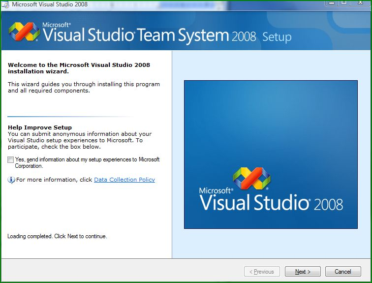 Welcome screen of Microsoft Visual Studio 2008 installation wizard